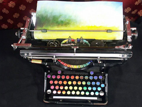 máquina de escrever colorido