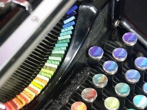 maquina de escrever colorido