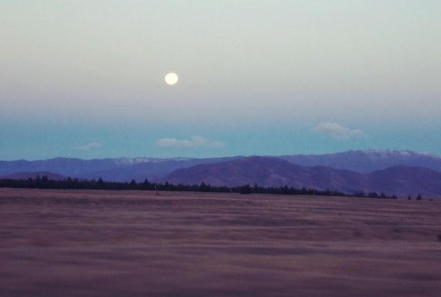 mountains & moon, new zealand